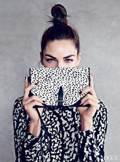 vogue, miranda kerr, fashion, bag, clutch, black white, jessica hart, patrick demarchelier, print
