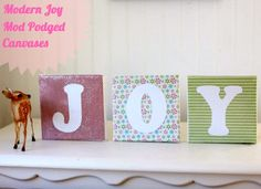 DIY Christmas decor - modern JOY canvases