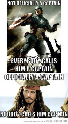 But Steve Rogers got promoted in The First Avenger....he IS Captain Steve Rogers... ...and Jack Sparrow keeps losing his ship...