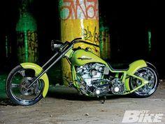 Green harley davidson custom.