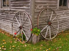 Old Wooden Barn with Wagon Wheels