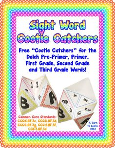 FREEBIE - sight word cootie catchers for kindergarten, 1st, 2nd, and 3rd grade sight words.  these will be way more fun than flash cards!