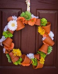 Spring Flower Pot Wreath