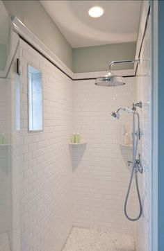 Bathroom Shower Design. This is a great shower design with timeless subway tiles. #Shower #Bathroom