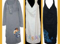 ejemplo de 3 vestidos pintados a mano con pintura acrílica y rotuladores indelebles