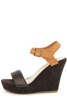 Black + Tan Ankle Strap Wedges