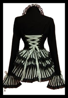 Back View - GOTHIC STEAMPUNK CARNIVALE QUEEN STRIPED VICTORIANA BUSTLE CORSET JACKET by Lovechild Boudoir