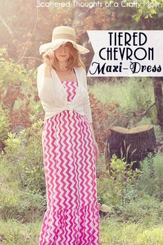 Learn how to make your own tiered Maxi-Dress, in any size using your measurements.  No patterns to print, only straight cuts!  (The best way to sew IMO...)  #Tutorial #maxidress #DIY maxi dresses, dress tutorials, pattern, straight cut, maxis, tier maxidress, maxidress diy, chevron, diy maxi dress no sew