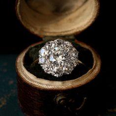 1900s Edwardian Diamond Cluster Ring,  0.87ct European Cut Diamond Center, ~1.80ct Total,  Platinum and 18K Gold.