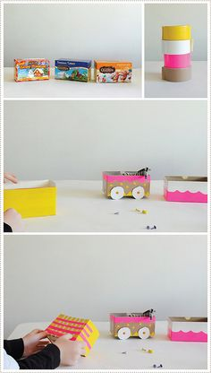 DIY train out of recycled tea boxes.