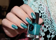 My First Stamp nails by #lizananails #tealpolish #nailart - bellashoot.com