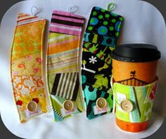 craft, sewing projects, gift ideas, sleev, hot drinks, coffee cups, coffe cozi, coffe cup, coffee cozy