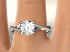 Twisted Pave Shank Contemporary Solitaire engagement ring