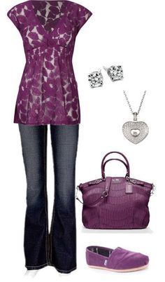 fashion, outfit sets, lace tops, color, tom shoes, blous, casual outfits, plum, shirt