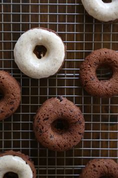 Dark chocolate chip baked doughnuts with maple espresso glaze l Climbing Grier Mountain
