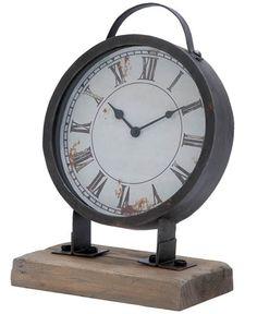 $32.50 {Vintage Industrial} Distressed Metal Clock on Wood Block ~Enjoy one decor deal a day from WUSLU ~www.wuslu.com