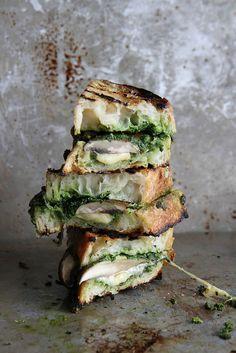 Portobello, Gouda and Kale Pesto Grilled Cheese | Heather Christo