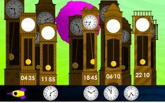 Sleep de digitale cijfers naar de goede staande klokken. Een spelletje.