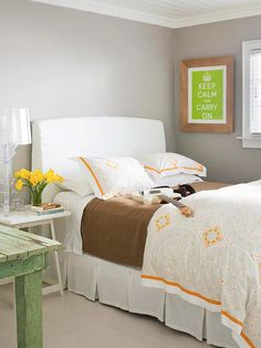 No-Fail Color Scheme.  I like this because it's simple, clean and bright without being blinding.  It's a guest room that us lower income people (with small bedrooms) could put together easily as a guest room.