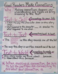 texts, anchors, students, friends, school, reading anchor charts, student teaching, making connections, kid