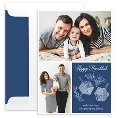 Personalized Blue Hanukkah Dreidels Photo Cards