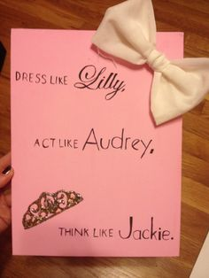 Painted Canvas. Dress Like Lilly, Act Like Audrey, Think Like Jackie. Bow Crown. Big Little Alpha Chi Omega Zeta Phi