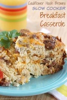 Cauliflower Hash Browns Slow Cooker Breakfast Casserole - an easy recipe to feed a crowd for #SundaySupper | cupcakesandkalechips.com | gluten free, low carb