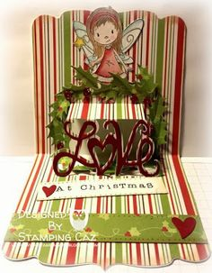 Caz Counsell using the Square Pop 'n Cuts Base, the Love Insert and companion Love Sizzlits Set - beautiful! - A STAMPING & CHIRPING Corner: December Designer Challenge for Karen Burniston