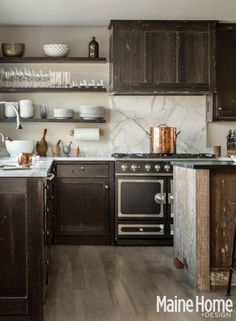 rustic kitchen ~ Weathered Wood Island
