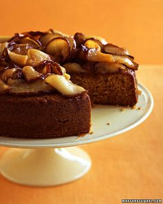 Honey Cake with Caramelized Pears Recipe -- Serve with whipped cream or topping