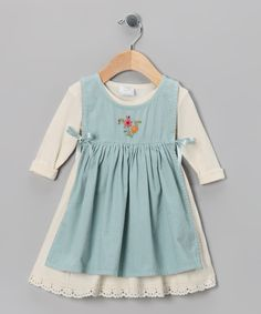 Ecru & Aqua Apron Dress