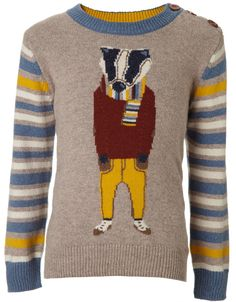 My Design Bertie Badger Jumper OB | Grey | Monsoon
