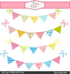 Bunting set Digital clip art  for all use by petittatti on Etsy