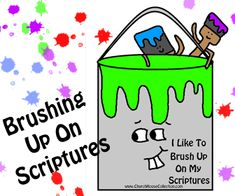 Church House Collection Blog: I Like To Brush Up On My Scriptures-Paint Can And Paint Brushes Cutout Printable Template For Kids #paint #brush #can #template #printable #crafts #kids #sunday #school