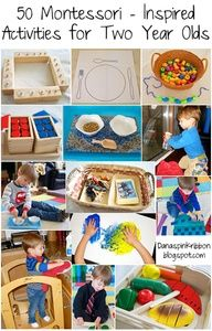 50 Montessori Activities--maybe I can do a few of these with Natalie while the big kids are in school this fall. montessori two year old, 50 montessori, montessori for 2 year old, food for 2 year old, activities for 2 year olds, toddler love, two year old activities, montessori activ, kid