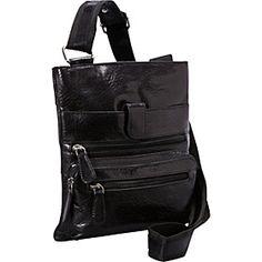 Leather 3 Zip Front Pocket Crossbody BLACK