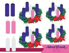 Advent Wreath Clip Art Set