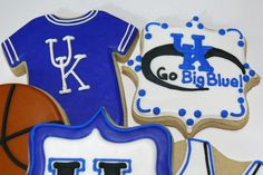 University of Kentucky (UK) decorated cookies...these were for a basketball fan, but can also do footballs, baseballs, etc. www.facebook.com/cookiesbycharity