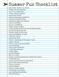 Summer Countdown - 1: Summer Fun Checklist - The Freckled Fox
