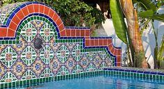 color tile, sandra garden, spanish tile garden, tile fountain