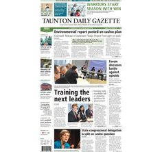 The front page of the Taunton Daily Gazette for Friday, Sept. 5, 2014.