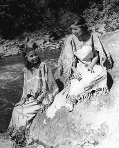 """Two Cherokee Indian """"princesses"""" in traditional costume. Photo taken at Great Smoky Mountains National Park, Tennessee. 29th May, 1939."""
