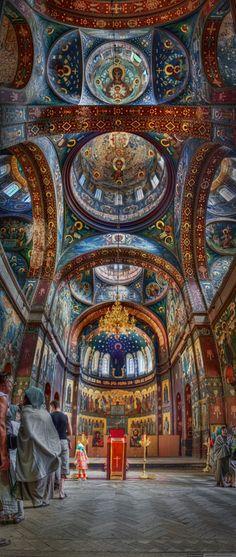 Fresco at church in Mt. Athos monastery. Greece.