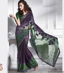 Purple and Viridian Green Net and Satin Saree net-saree @ www.mirraw.com fashion, viridian green, sareeindian style, bottl green, sare netsare, purple, satin sare, green net, net sare