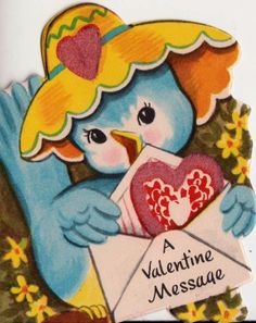 Vintage 1950s A Valentine Message Greetings Card (B7).