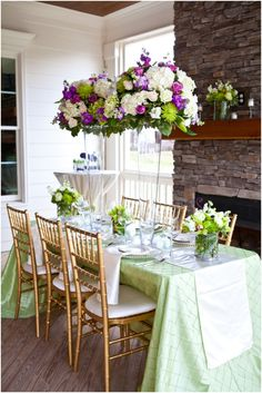 beautiful and elegant mint green tablescape with cream, green and purple topiaries by Tre Bella Florist, modern garden purple and green styled wedding shoot