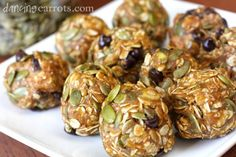 Healthy Pumpkin Seed No Bake Power Cookies recipe with oats, chocolate chips, pumpkin puree and peanut butter.