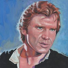 Han Solo for Star Wars Day (May the Fourth) Done on 6x6 inch Aquabord with Winsor & Newton Gouache Paints