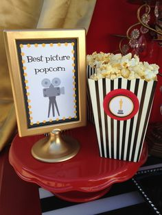 Gotta have popcorn at an Oscar's party!  See more party ideas at CatchMyParty.com!