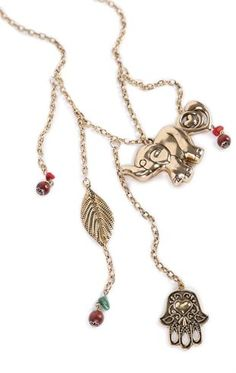 Deb Shops Short Necklace with Multiple Charms $7.50